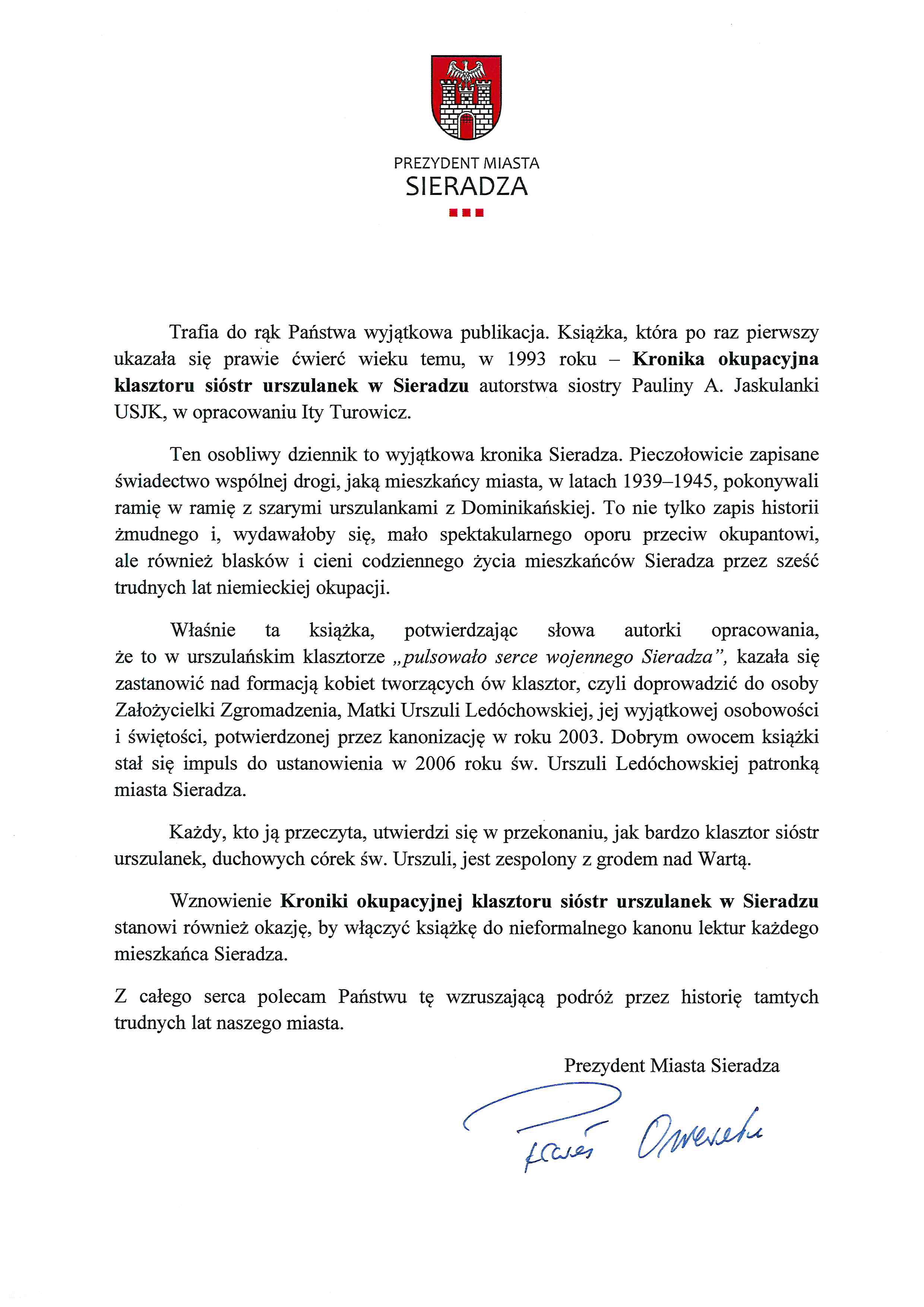 Strona Klasztoru Sióstr Urszulanek Sjk W Sieradzu